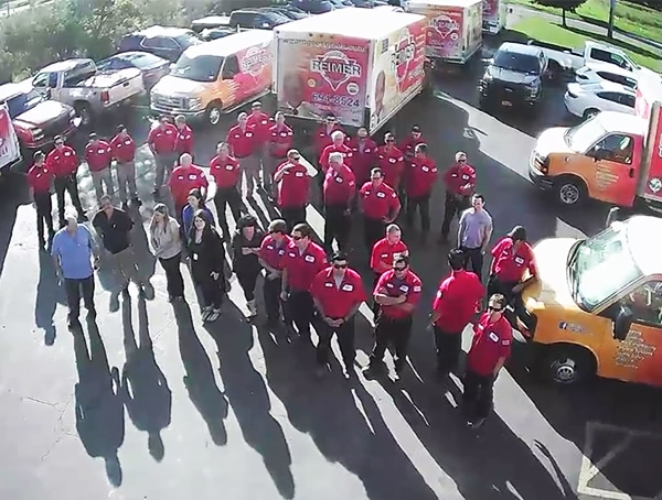 This aerial shot shows the size of the Reimer team, and how our technicians and plumbers are ready to help you.